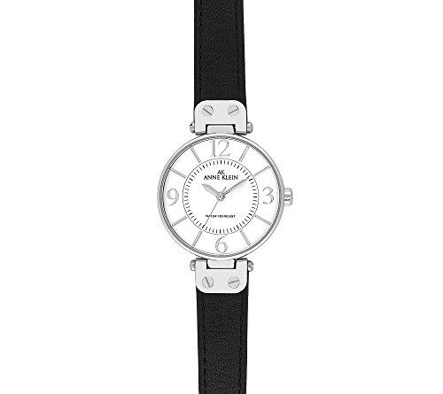 Anne Klein Modern Leather Strap Watch - Black