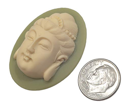 (Cabochon, Cameo Acrylic 3-D Buddha Ivory on Olive Green Non-Calibrated 40x30mm x 1pc)