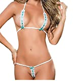 Cyswi White Lingerie Erotic Underwear Lace Up Halter 2 Pieces Chemsie Bra Mesh Pajama with Bowknots