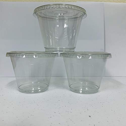 98sets Plastic Ultra Clear squat Cups with flat lids without x slotted is for Cupcake, icecream ... (9oz dessert cup 98sets)