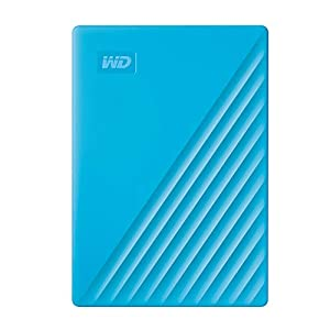 Western Digital WD 2TB My Passport Portable External Hard Drive, Blue – with Automatic Backup, 256Bit AES Hardware Encryption & Software Protection