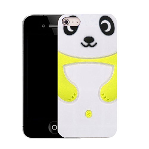 Mobile Case Mate IPhone 5S clip on Silicone Coque couverture case cover Pare-chocs + STYLET - yellow panda pattern (SILICON)