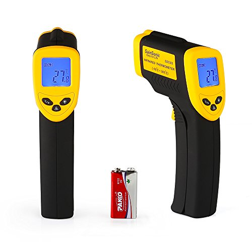 SainSonic SS5380 Temperature Gun Infrared Thermometer with Laser Pointing, Accurate Reading, Measures in Celsius or Fahrenheit, Simple Operation