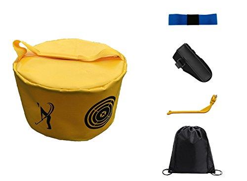 POSMA HB010E Golf Hitting Bag Swing Impact Power Smash Bag Training Set with 3pcs Elbow Brace Posture Corrector + Cinch Sack Bag ()