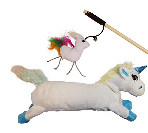 Unicorn Catnip Cat Toy Refillable - Unicorn Crinkle Kicker and Wand Cat Toys
