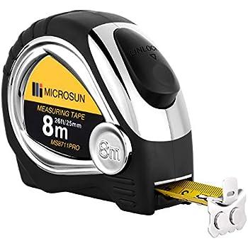 1.58mm Graduation Interval Starrett KTS1-8M-N ABS Plastic Case Yellow Measuring Pocket Tape 8m Length Metric Graduation Style 25.4mm Width