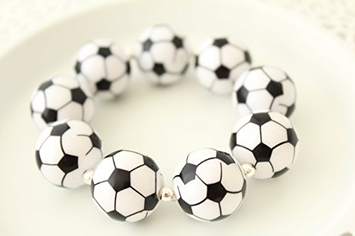 Coach Mate (Black White Soccer Football Chunky Sports Jewelry Bracelet 6