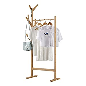 LANGRIA Heavy Duty Commercial Grade Clothing Garment Rack with Side 8-Hook Display Stand Hall Tree Branch Coat Rack with Leveling Feet for Jacket Long Coat Dress Umbrella Hats, Bamboo Natural Color