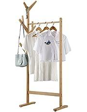LANGRIA Portant Penderie à Vêtements en Bambou avec Porte-Manteau sur Le Côté Design Arbre avec 8 Crochets pour Vestes Robes Parapluie Chapeaux Pieds Réglables, Couleur Bambou Naturel