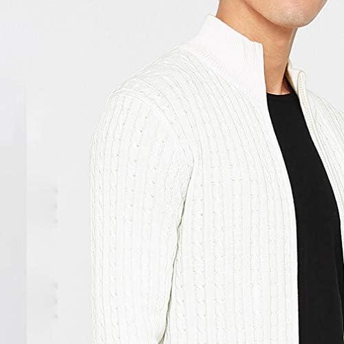 ニットセーター カーディガン メンズ コットン 綿 ファスナー付き 立ち襟 ひらおりそしき 編み物 ジャケット風 厚手 フリース 保温性高い おしゃれ お兄系 大人 ビジネス ビズ アウトドア 秋冬