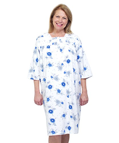 Silvert's Womens Flannel Hospital Gowns - Open Back for Assisted - Blue Pansy 2XL (Flannel Hospital Gowns)