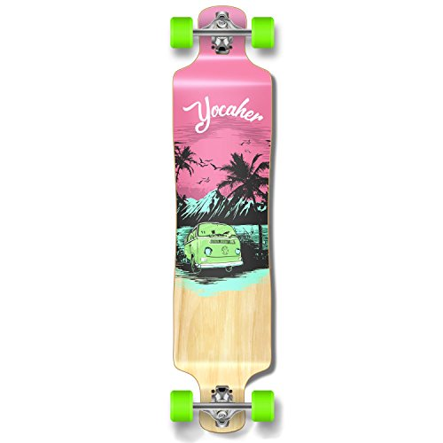 Yocaher New VW Vibe Beach Series Longboard Complete Cruiser and Decks Available for All Shapes (Complete-Lowrider-Pink) ()
