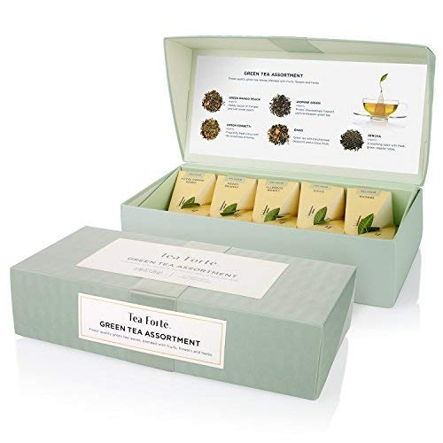- Tea Forté Petite Presentation Box Sampler with 10 Handcrafted Pyramid Tea Infusers - Green Tea Assortment