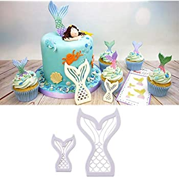 1 piece Drop Ship 2Pcs Mini Mermaid Tail Cake Mold Chocolate Cookie Cutter Fondant Decoration Tool