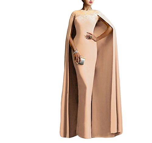 Ellenhouse Women's Long Mermaid Formal Gown Prom Evening Dresses with Cape EL349 Light Champagne ()