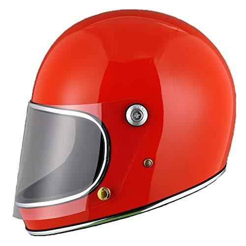 Amazon.es: Casco de Moto Estilo japonés Full Face Rider Fibra de Vidrio Retro con Lente Cascos de Seguridad-Rojo, L
