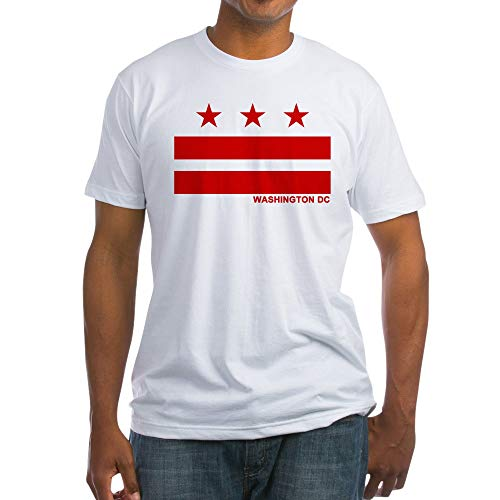(CafePress Washington DC Flag Fitted T Shirt Fitted T-Shirt, Vintage Fit Soft Cotton Tee White)