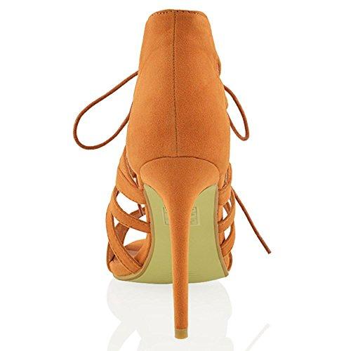Essex Glam Donna Tacco Cut-up Stringato In Pizzo Stiletto Sintetico A Punta Aperta Sandali Con Cinturino Allabbronzatura In Finta Pelle Scamosciata