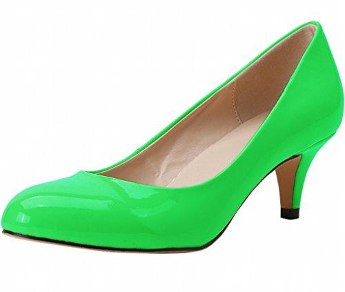 Slip zeigen Zehe Kitten On geschlossene Lack PU Frauen Pumps Dress Heel Mid grünes 4twdq66