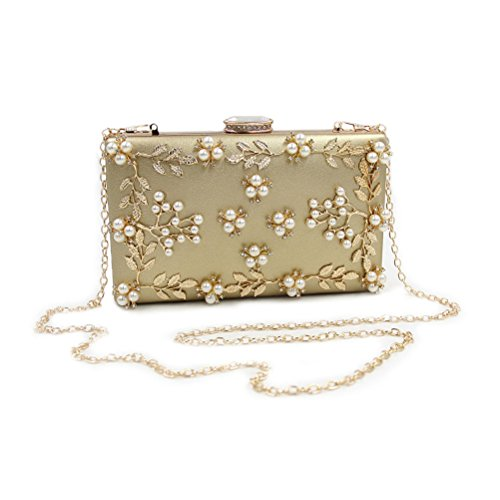 Zhhlinyuan Bolsos de alta calidad Women's Popular Rhinestones Small Bags Handbags Designer Bead Flowers Pearl Evening Shoulder Bags Womens Gifts Silver