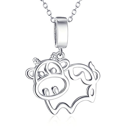 SILVER MOUNTAIN S925 Sterling Silver Cow Animal Pendant Necklace,18inch Rolo Chain