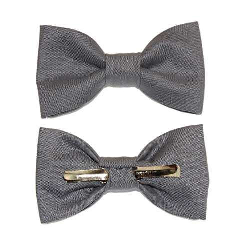 Toddler Boy 4T 5T Steel Gray Clip On Cotton Bow Tie Dark Gray Bowtie by amy2004marie