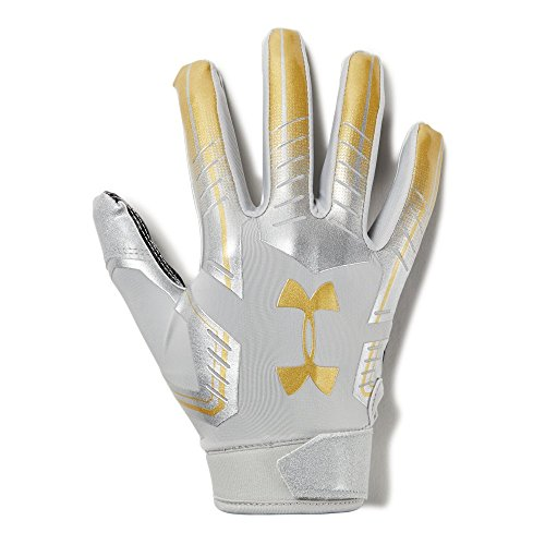Under Armour Men's F6 LE Football Gloves, Metallic Silver (099)/Metallic Gold, X-Large by Under Armour