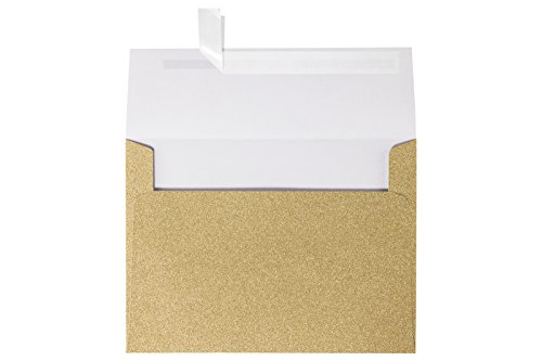 A7 Invitation Envelopes w/Peel & Press (5 1/4 x 7 1/4) - Mirri Gold Sparkle (50 Qty) | Perfect for Invitations, Announcements, Sending Cards, 5x7 Photos | Printable | 90lb Paper | 5370-MS02-50