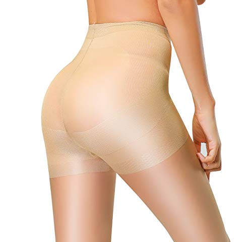Spandex Pantyhose Opaque (DancMolly Compression Shapping Semi Sheer Pantyhose Control Top Tights Push Up Silk Stockings for Womens (New A, Nude))