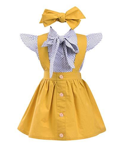 (Toddler Baby Girls Ruffles Sleeve Dots Bowknot Shirt + Overall Skirt + Headband Outfits Set School Uniform (Yellow, 4-5 T))