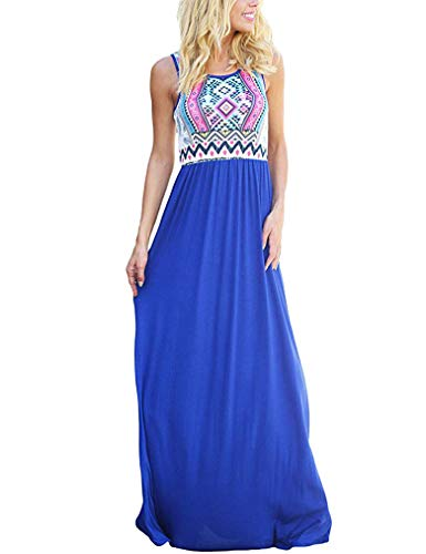 Sherosa Women's Maxi Dress Floral Printed Summer Sleeveless Casual Tunic Long Beach Dresses (XXL, T-Blue) ()