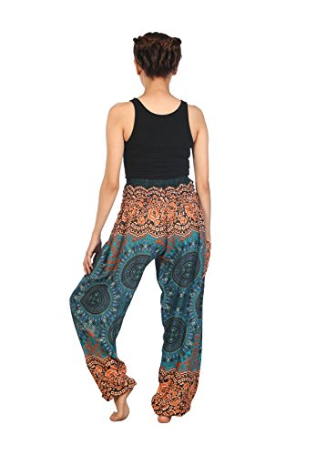 Lofbaz Mujer Harem Hippy Pantaloni cintura elástica bonzaai pantalones Rose 2 Teal verde