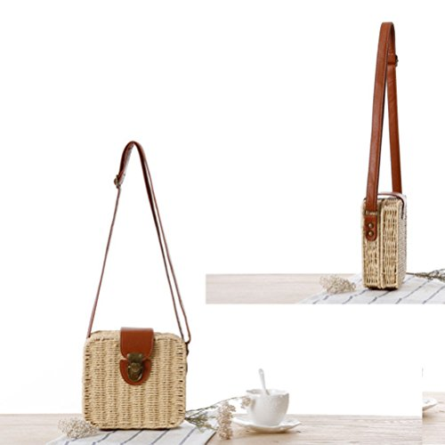 Zhuhaitf Ventas calientes High Quality Womens Candy Color Small Square Box Messy Woven Bag Beach Bags Simple Khaki