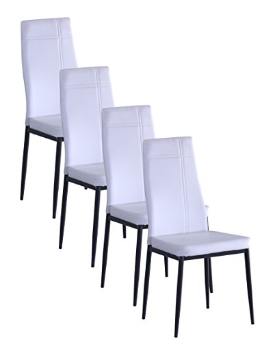 Metal Frame Dining Side Chair (4, White)