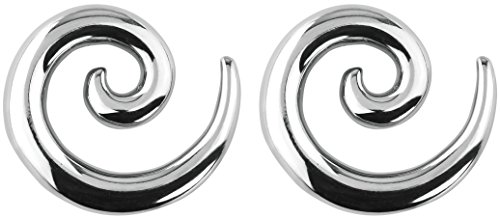 - Forbidden Body Jewelry Pair of 0g (8mm) Surgical Steel Solid Spiral Taper Earrings