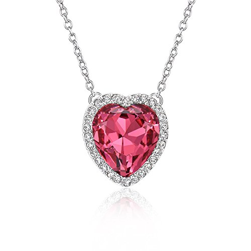 Beyond Love Ruby July Birthstone Necklace Heart Birthday Anniversary Jewelry Gifts for Women and Girls ()