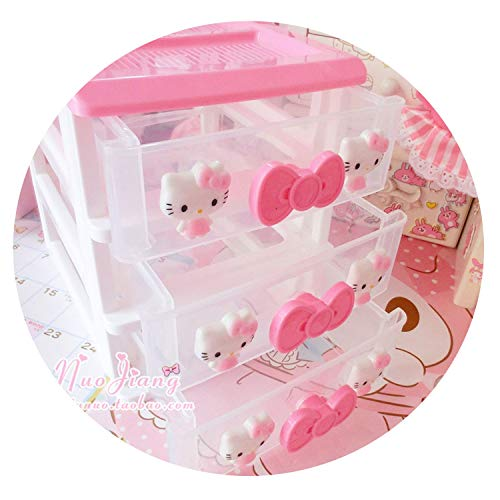 Hello Kitty Desktop - lovehouse21 1 Pc Cute Hello Kitty Desktop Storage Boxes Cosmetic Storage Box Drawer Jewelry Storage Boxes 3D,2 Layers