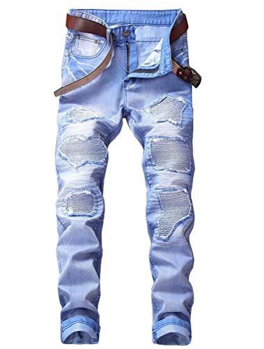 Lavnis Men's Distressed Ripped Jeans Casual Long Straight Slim Fit Skinny Denim Pants 34