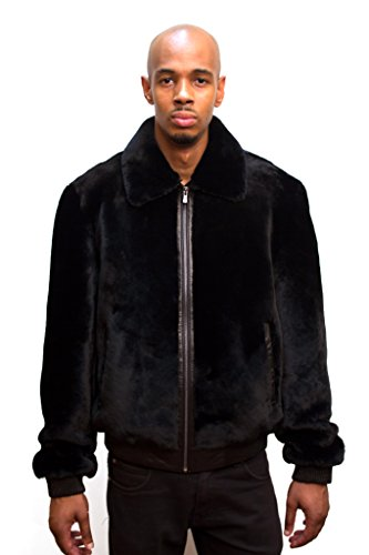 Mouton Sheared Sheepskin Bomber Men Winter Jacket Real Fur Warm Coat (Mouton Fur Coat)