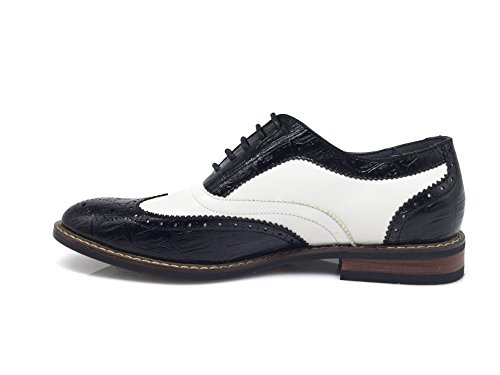 Enzo Romeo Mens Dress Oxfords Shoes Italy Modern Designer Wingtip Captoe 2 Tone Lace Up Shoes Conrad3_black / White