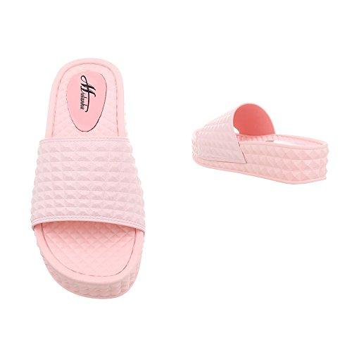 Ital para Clair Mujer Design Zapatos 56 Sandalias Zuecos D de Plano Rose Vestir ApwdxZw0