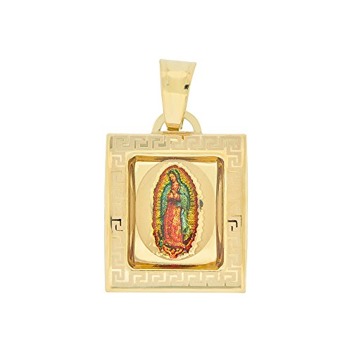 Design Gold Greek Square (14k Yellow Gold, Virgin Mary Religious Pendant Charm Colorful Enamel Square Medal 15mm)