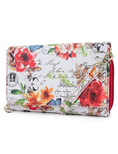 Mundi RFID Crossbody Bag For Women Anti Theft Travel Purse Handbag Wallet Vegan Leather (Blush Garden)