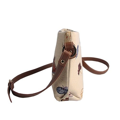 Purse Adjustable also as Small Cross Tapestry Signare Strap Butterfly XB02 by Fashion Canvas Shoulder Mini with Satchel Bag Bag Ladies BUTT body nO8Yx
