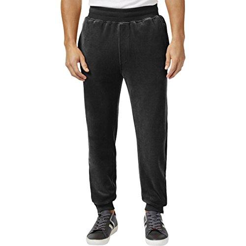 Sean John Mens Velour Comfort Waist Track Pants Black (Velour Track Pant)