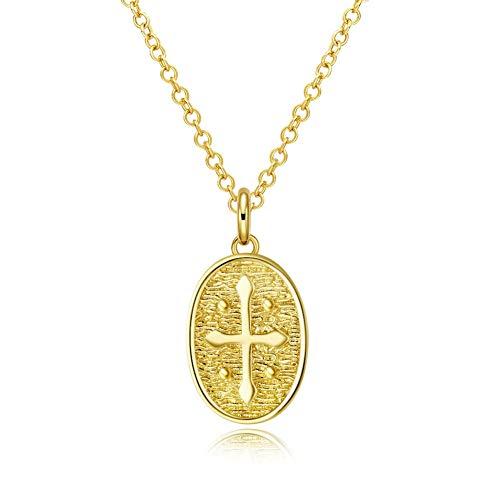 V-Moni decorated fashion trend wild elliptical crossover imitation gold necklace
