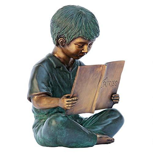 Boy Reading Bronze Garden Statue