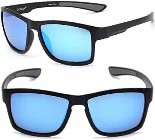 3cf6e9c8d45ed0 CAXMAN Polarized Sunglasses for Men Women Rectangular Frame Sports  Sunglasses