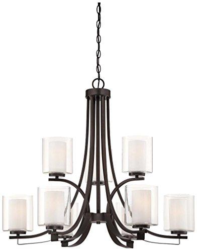 Minka Lavery 4109-172 Chandelier Lighting, Parsons Studio Glass 2 Tier with Shades, 9 Light, Smoked Iron