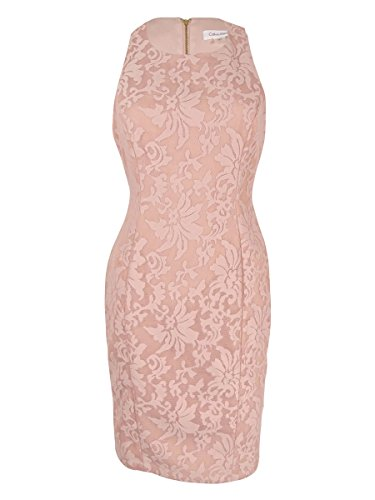 Calvin Lace Cocktail Womens Klein Overlay Dress Blush Scuba atXrtHwq
